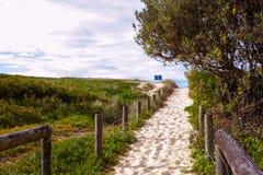 Strandweg aan het overzees in het zand Stock Afbeeldingen