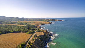 Strandzha蜜饯看法在黑海海岸的从上面 免版税库存照片