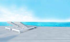 Strandzitkamer met sundeck op Overzeese achtergrond-3d mening en blauwe hemel Stock Afbeeldingen