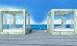 Strandzitkamer met sundeck op Overzeese achtergrond-3d mening en blauwe hemel Royalty-vrije Stock Afbeeldingen