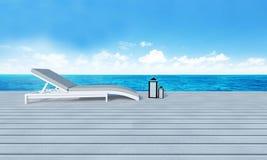 Strandzitkamer met sundeck op Overzeese achtergrond-3d mening en blauwe hemel Stock Afbeelding