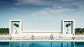 Strandzitkamer, zonlanterfanters bij het Zonnebaden van dek en privé zwembad met panoramische overzeese mening bij luxe villa/3d  stock fotografie