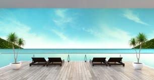 Strandzitkamer, zonlanterfanters bij het Zonnebaden van dek en privé zwembad met panoramische overzeese mening bij luxe villa/3d  stock foto's