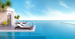 Strandzitkamer, zonlanterfanters bij het Zonnebaden van dek en privé zwembad met panoramische overzeese mening bij luxe villa/3d  royalty-vrije stock foto
