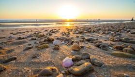 Strandzonsondergang in Cadiz Spanje stock foto