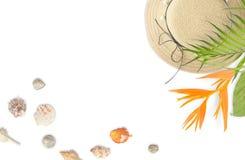 Strandzubehör mit tropischem Blattrahmen Sommerstrand conc Lizenzfreies Stockfoto