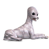 Strange alien dog from area 51. 3D rendering with Royalty Free Stock Photography