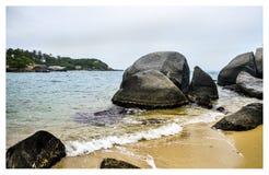 Strange beach of Tayrona stock photo