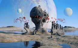 Exoplanet landscape, flying red alien creatures swarming around mysterious rock formations stock illustration
