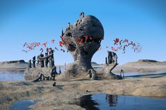 Flying red creatures swarming around mysterious rock formations in a beautiful landscape Stock Photos