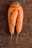 Strange carrot. A carrot with a strange shape on a wooden surface royalty free stock image