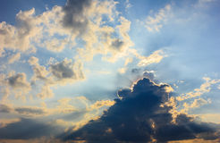 The strange cloud. The beautiful shaped clouds in the evening Stock Images