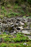 A strange composition of small mountain rocks. imitation of ancient buildings on a reduced scale.  Stock Image