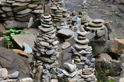 A strange composition of small mountain rocks. imitation of ancient buildings on a reduced scale.  Royalty Free Stock Photo