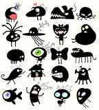 Strange creatures. Different black silhouettes of imaginary fantastic creatures Royalty Free Stock Photo