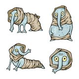 Strange creatures characters monsters set. Strange weird creatures characters monsters mutatnts set Stock Illustration