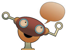 Strange cute robot head chat bubble Stock Photos