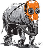 Strange elephant in an orange gas mask with a briefcase on its s Royalty Free Stock Image