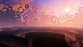 Strange Fantasy Landscape Sunset Stock Photo