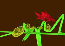 Strange flowers. Two red flowers, with triangular shapes, growing from the same green stem that is like an horizontal bar with crossing itself towards vertical vector illustration
