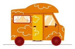 Strange funny camper. A strange funny coloured cartoon autocaravan vector illustration