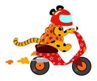 Strange funny motorcycle. A strange funny animal motorcycle stock illustration