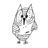 Strange funny surprised owl line art hand drawing Stock Image