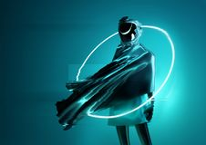 Strange Futuristic Space Women Concept. A strange and mysterious space women astronaut posing for the camera. Futuristic cyborg women 3D illustration concept royalty free illustration