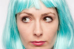 Strange Girl Expression with Colourful Wig. Stock Images