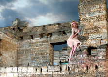 Strange girl in the ruins Royalty Free Stock Photos