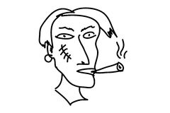 Strange guy with cigarette and scar face. Scar face of guy with cigarette vector illustration