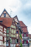 Strange half timbered houses in alsace Stock Photo