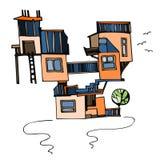 Strange house. Fantasy building. Vector illustration royalty free illustration