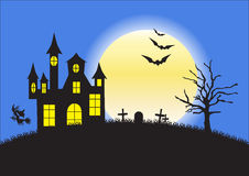 Strange house, graveyard and bats on background of the full moon Royalty Free Stock Photography