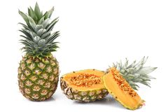 Ibrid fruit pineapple-melon. Strange ibrid fruit pineapple-melon Royalty Free Stock Image