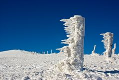 Strange ice structures in the mountains. Snow plus wind Stock Photos