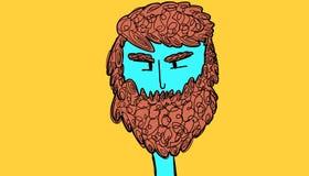 Blue man with brown beard stock illustration