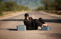 Strange indigenous man in the middle of a road Stock Photo