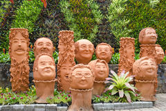 The strange jardiniere sculpture look like human face in Nong Nooch tropical garden in Pattaya, Thailand Royalty Free Stock Photo