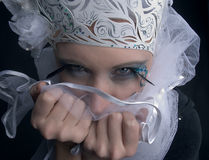 Strange look. There is women under makeup of snow princess. She is strange royalty free stock photography