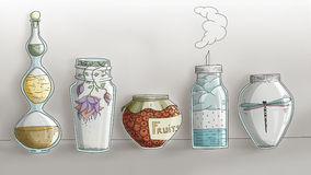 Strange Magic Kitchen Jars - digital hand drawn Stock Image