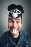 Strange man with mouse ears Stock Photography