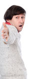 A strange man with outstretched hand Stock Photo