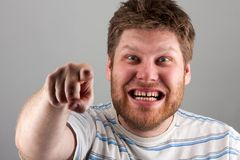 Strange man pointing at you Stock Photography