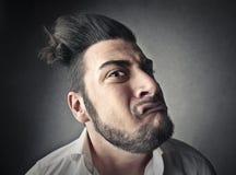 Strange man's face Stock Photos
