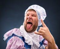Strange man sticking out tongue Royalty Free Stock Photo