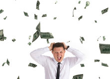 Strange man uder rain of dollars Royalty Free Stock Images