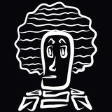 Strange man with an unusual lush hairstyle.  royalty free illustration