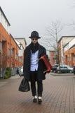 Strange man wearing black coat Royalty Free Stock Photography