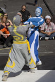 Strange masked dancers. Royalty Free Stock Image